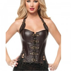 Imitation Leather Halter Steampunk Buckle-up Slimming Waist Overbust Corsets