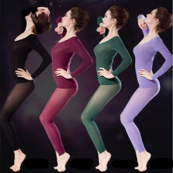 Women 37 Degree Thermostated Super Thin Thermal Seamless Body Shaping Long Underwear Set Sleepwear